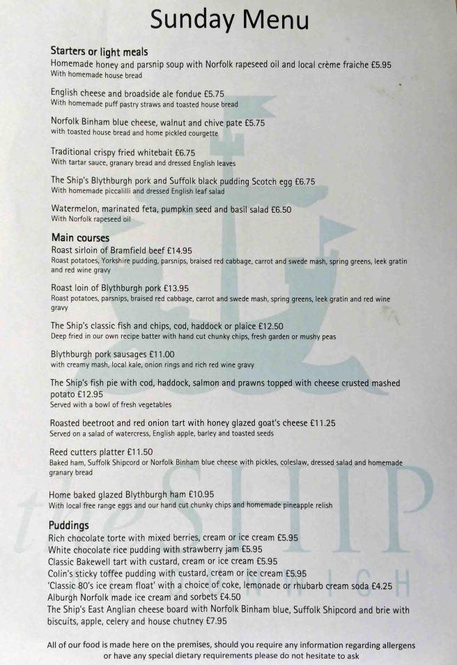 Dunwich menu